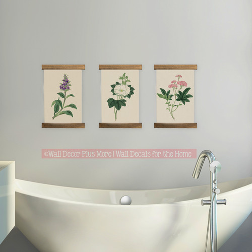 Wood and Canvas Wall Hanging - Farmhouse Style Set of 3 Botanical Plants