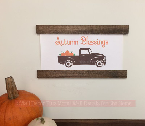 Wood and Canvas Wall Hanging - Farmhouse Style Autumn Blessings with Vintage Pickup