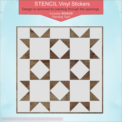 Barn Quilt Stencil Decals Sticker Art Wood Project DIY Farmhouse Decor