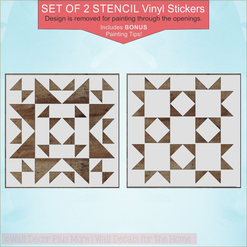 Set of 2 Barn Quilt Stencil Design Decals Farmhouse Home Decor DIY Wood Art Project