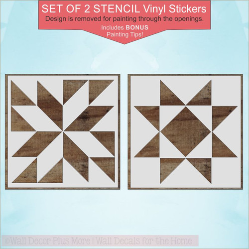 Set of 2 Barn Quilt Stencil Art Stickers DIY Wood Farmhouse Home Decor