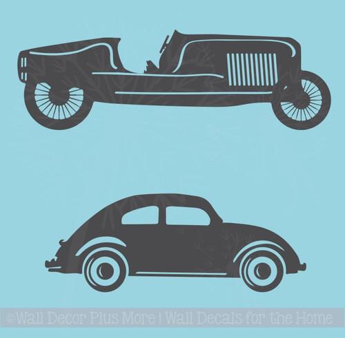 2 Vintage Cars Vinyl Art Decals Antique Farmhouse Decor Wall Stickers