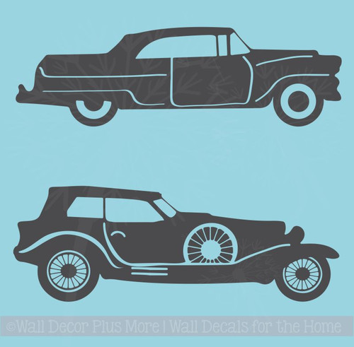2 Old Cars Wall Art Stickers Rustic Vintage Farmhouse Style Decor Decals