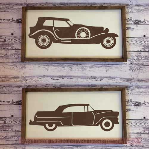 2 Old Cars Wall Art Stickers Rustic Vintage Farmhouse Style Decor Decals-Chocolate Brown