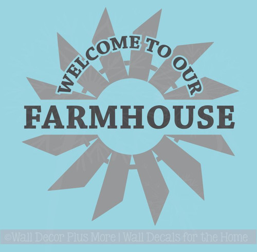 Windmill Wall Stickers Farmhouse Style Décor Welcome Vinyl Art Decals
