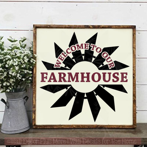 Windmill Wall Stickers Farmhouse Style Décor Welcome Vinyl Art Decals-Black, Burgundy
