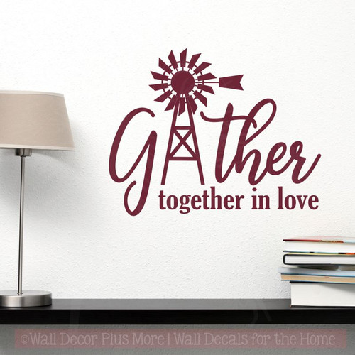 Gather Windmill Wall Art Stickers Vinyl Decals for Modern Farmhouse Decor-Burgundy