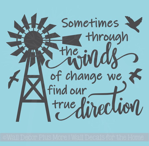 Winds True Direction Windmill Farmhouse Decor Wall Stickers Vinyl Quotes