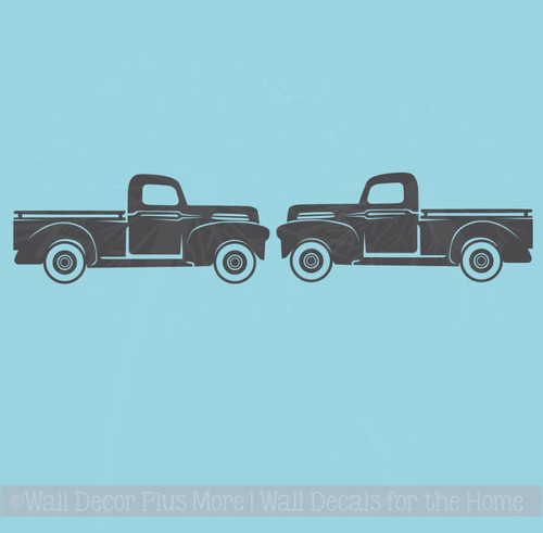 Rustic Vintage Trucks Set of 2 Vinyl Decals Old Pickup Farmhouse Style Decor