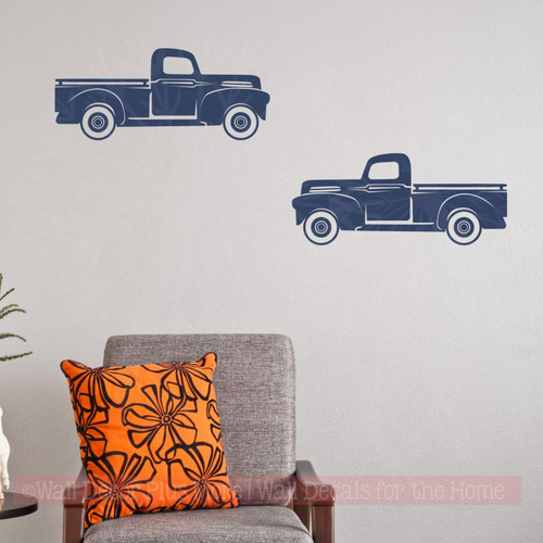Rustic Vintage Trucks Set of 2 Vinyl Decals Old Pickup Farmhouse Style Decor-Deep Blue