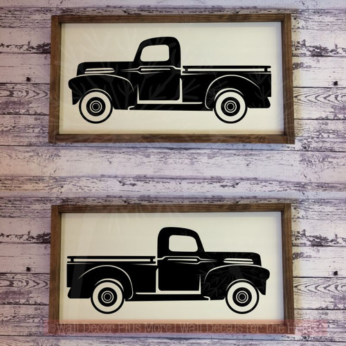 Rustic Vintage Trucks Set Of 2 Vinyl Decals Old Pickup Farmhouse