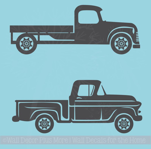 2 Old Trucks Wall Art Stickers Vinyl Decals Rustic Farmhouse Style Decor