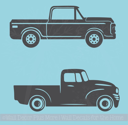 2 Antique Vintage Trucks Vinyl Art Stickers Old Pickup Wall Decals