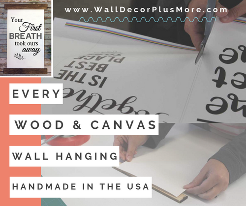 Handmade - Wood and Canvas Wall Hanging - Canvas Photo Prints With Wood Edges Rustic Wall Banner Choose Size & Love or Family Lettering
