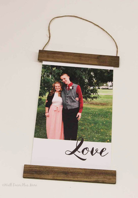 Canvas Photo Prints With Wood Edges Rustic Wall Banner Choose Size & Love or Family Lettering