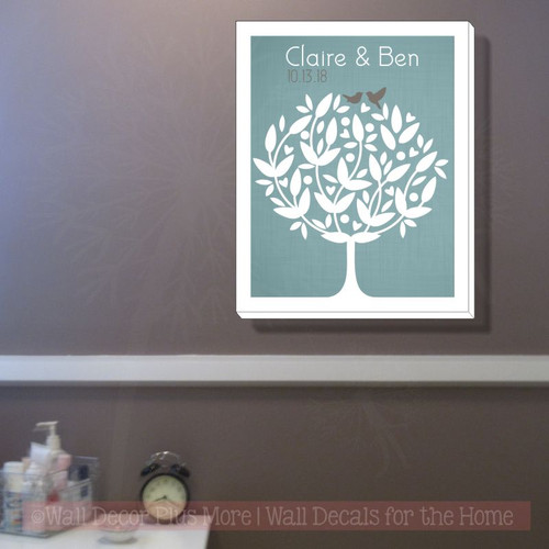 Love Birds Modern Tree Canvas Art 16x20 Hanging Wall Decor Wedding Gift