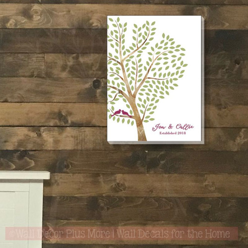Tree with Leaves Canvas Print Wall Art Wedding Gift Wall Decor 12x16