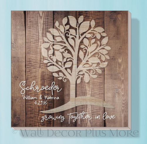 Canvas Print with Tree Personalized Growing Together Love Wall Art