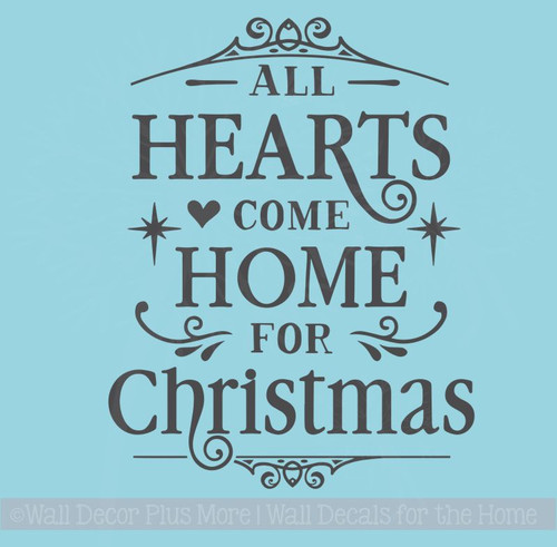 Hearts Home for Christmas Winter Decor Decals Wall Quotes Vinyl Letter