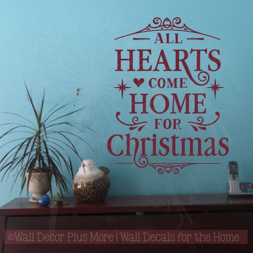 hearts home for christmas winter decor decals wall quotes. Black Bedroom Furniture Sets. Home Design Ideas