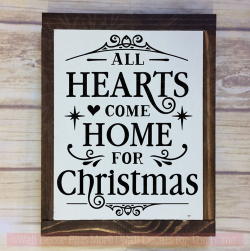 Hearts Home for Christmas Winter Decor Decals Wall Quotes Vinyl Letter-Black