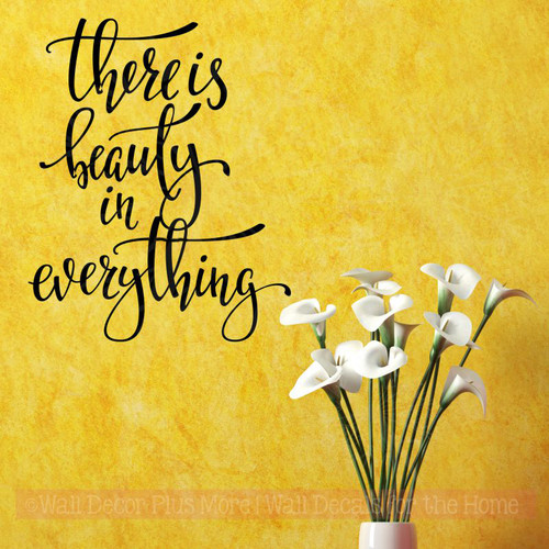 Beauty In Everything Inspirational Wall Quotes Vinyl Lettering Decals-Black