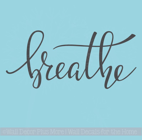 Breathe Bathroom Decals Wall Decor Quote Spa Modern Lettering Stickers