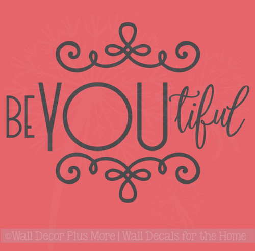 BeYOUtiful Girls Bedroom Decor Decals Wall Word Stickers Vinyl Lettering