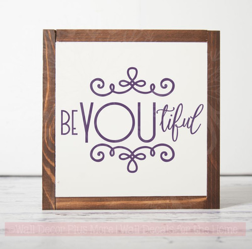 BeYOUtiful Girls Bedroom Decor Decals Wall Word Stickers Vinyl Lettering-Plum