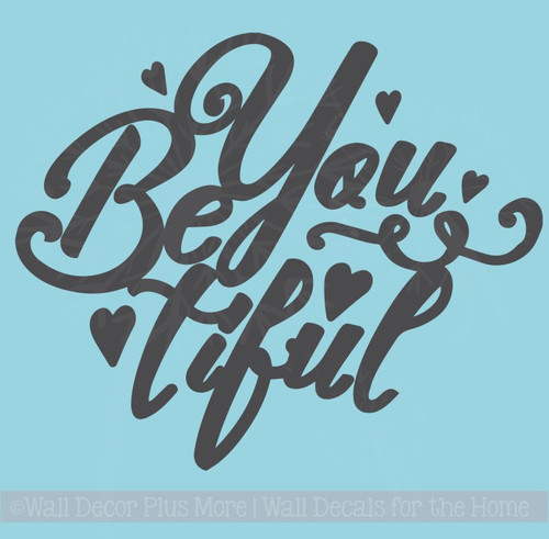 BeYoutiful Wall Décor Decals with Hearts Girls Vinyl Lettering Stickers
