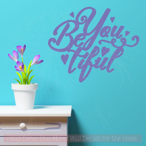 BeYoutiful Wall Décor Decals with Hearts Girls Vinyl Lettering Stickers-Purple