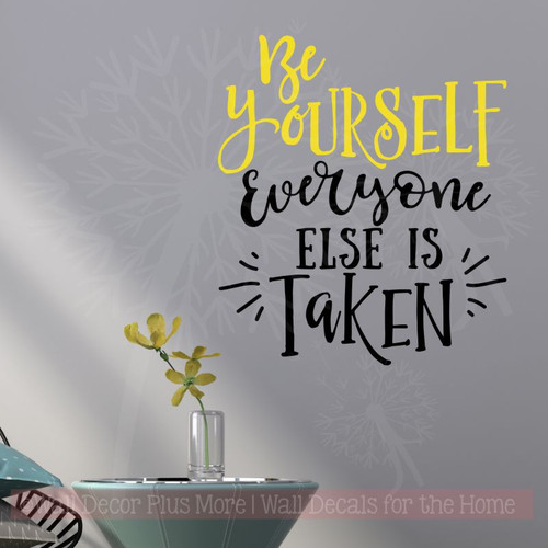 Be Yourself Vinyl Lettering Stickers Motivational Wall Decor Quotes-Yellow, Black