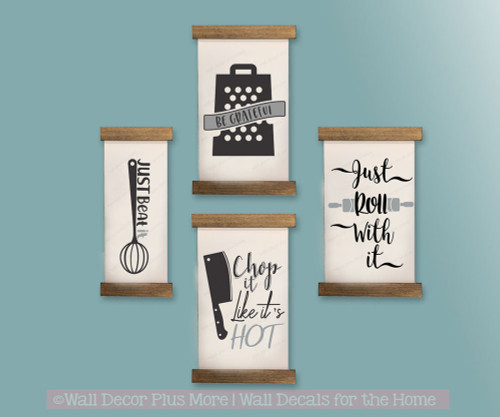 Wood and Canvas Wall Hanging - Farmhouse Style Set of 4 Kitchen Quotes