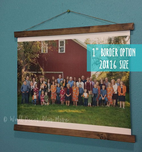 "Canvas Wall Hanging Photo Prints With Wood Edges Rustic Wall Banner with 1"" White Border on top and bottom, bleed on sides"