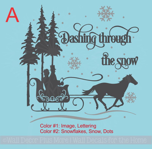 Option A- Snow Scene Wall Sticker Dashing Snow Winter Wall Vinyl Art Home Decor