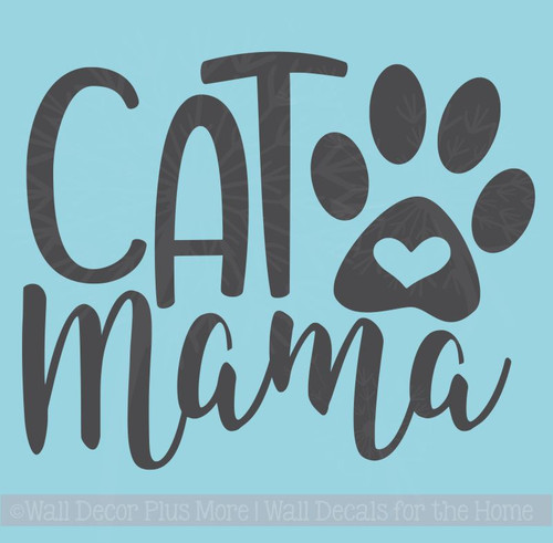 Cat Mama Car Decals With Paw Print Vinyl Funny Pet Window Stickers