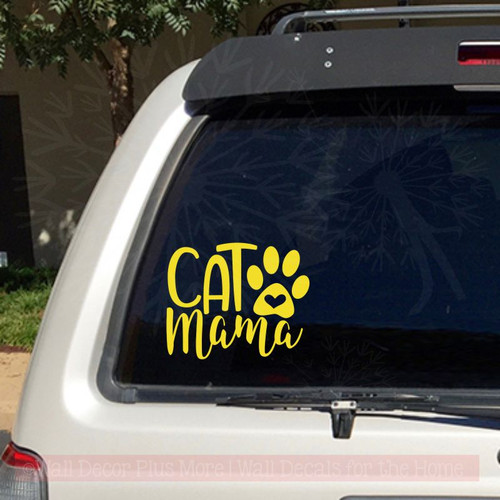 Cat Mama Car Decals With Paw Print Vinyl Funny Pet Window Stickers-Glossy Yellow