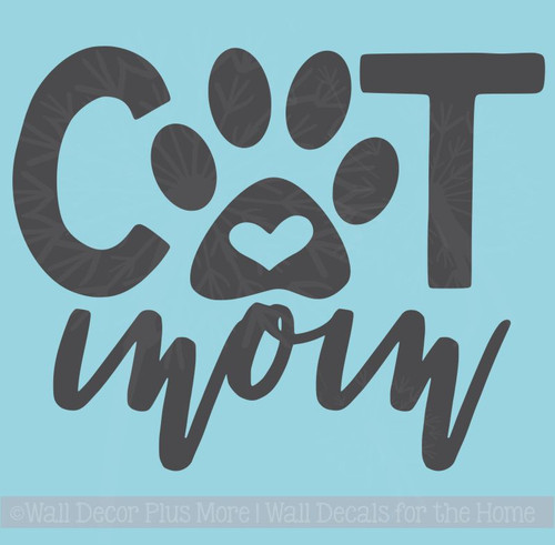 Cat Mom Car Decals With Paw Print Pet Window Stickers Vinyl Art