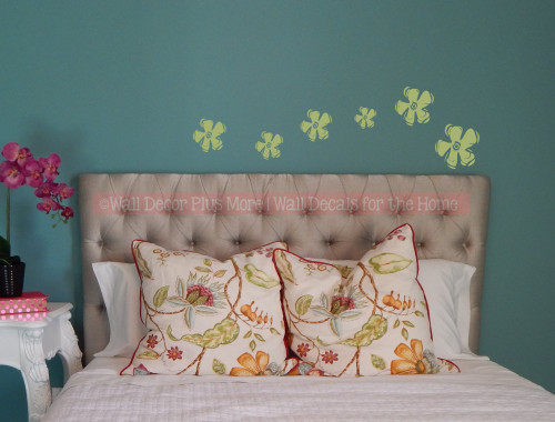 Wall Sticker Decals Flower Wall Art for Girls Room Decor Olive Green