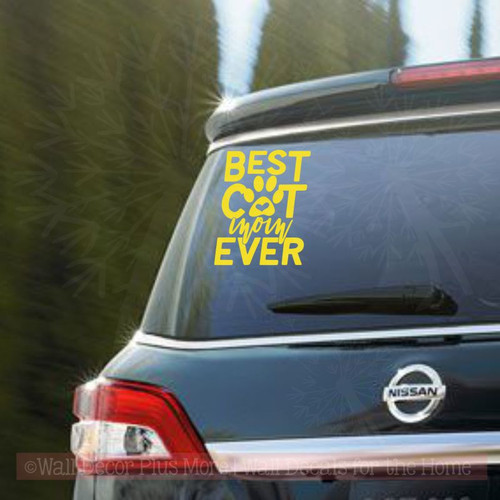 Car Decals - Best Cat Mom Ever Vinyl Letters Stickers Cat Lady Quote-Glossy Yellow