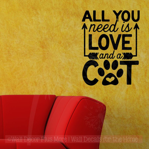 Cat Wall Quotes - All You Need Love And Cat Vinyl Lettering Stickers-Black