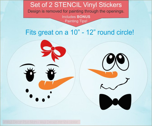 Winter Decor Snowman Face STENCIL Stickers for Painting on Wooden Signs, Set of 2