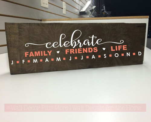 Birthday Board Decal Stickers Celebrate Family Friends Life DIY Gifts-White, Coral