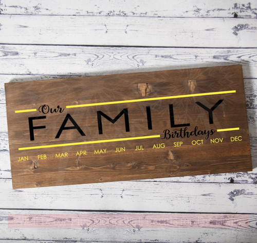 Decals To Create Birthday Board Our Family Birthdays DIY Wall Art Decor-Black, Light Yellow