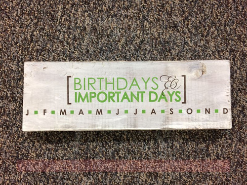 Birthday Board Sticker Birthdays And Important Days DIY Wood Sign Gift-Lime Green, Chocolate Brown