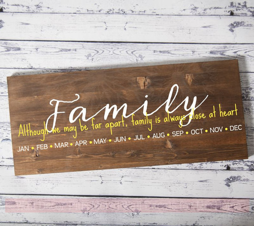 Birthday Board Decal Family Close At Heart DIY Stickers for Wooden Sign-White, Light Yellow