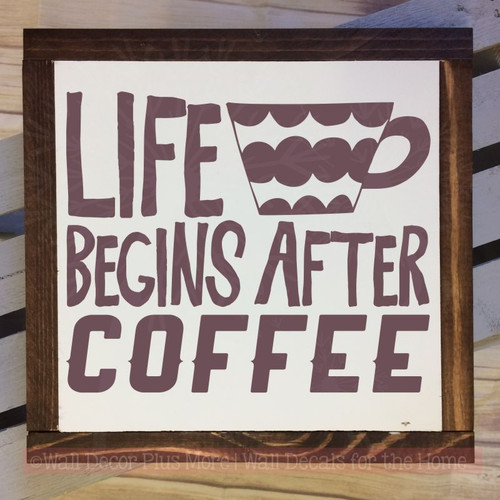 Kitchen Wall Quotes Life Begins After Coffee Vinyl Lettering Decals-Eggplant