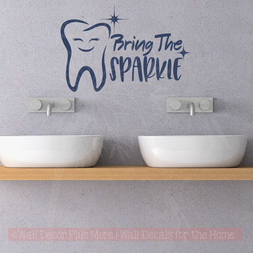 Bring Sparkle Dental Dentist Office Motivational Wall Vinyl Lettering Decals-Deep Blue