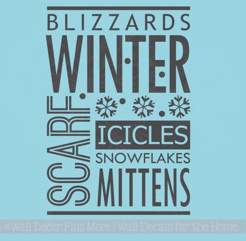 Wall Décor Winter Words Blizzards Snow Wall Sticker Quotes Vinyl Decals