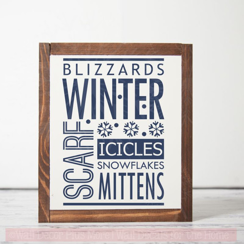Wall Décor Winter Words Blizzards Snow Wall Sticker Quotes Vinyl Decals-Deep Blue